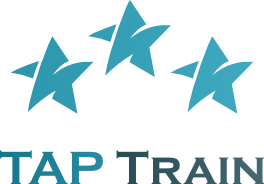 taptrain professional blue and white logo